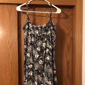 Spaghetti Strap Black and White Print Dress